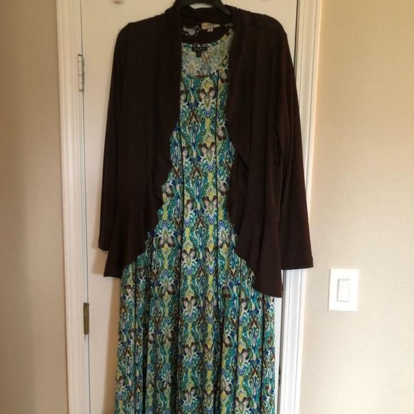 Plus size dress and cardigan set 2X